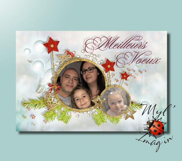 Carte de voeux Noel Bleu Famille Océane